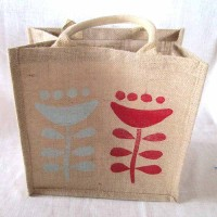 Hessian tote 30x30x20cm..red:aqua pincushion